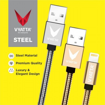 VYATTA STEEL LIGHTNING USB CABLE - IOS DEVICES - FAST CHARGE