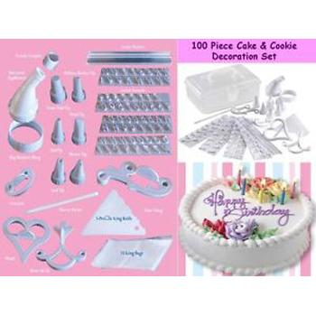 100 Piece Cake & Cookie Decoration Set Brand New As Seen On TV ( alat dekorasi kue )