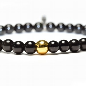 Tiaria Tasbih Black Obsidian Natural Stone 6mm with Gold Beads 0.2 gram