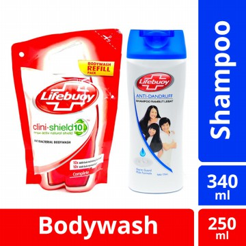 [BUNDLE] Lifebuoy Shampoo Anti Dandruff 340 Ml & Lifebuoy Body Wash Complete Reffil 250 Ml