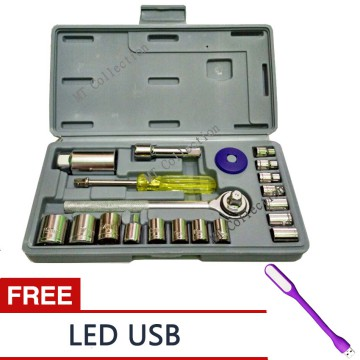 AKA 03+ Kunci Shock Wrench Set 21 PCS Serbaguna - StainLess + Free LED USB