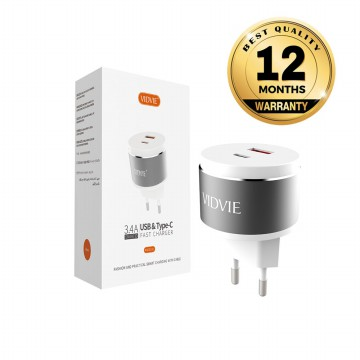 VIDVIE 2 USB Port & Type-C Charger PLE211C (USB Cable Included-Micro)