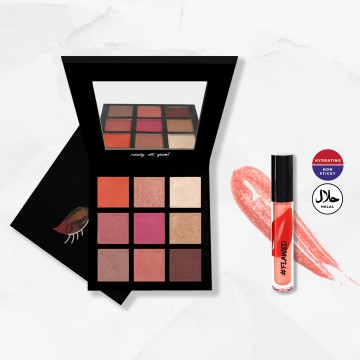 #Flawed Eyeshadow Palette + Hydrating Lip Gloss (Caramel Kiss) Bundle