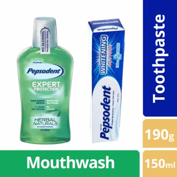 Pepsodent Plus Whitening 190G & Pepsodent Mouthwash Herbal Nat 150Ml - BUNDLE