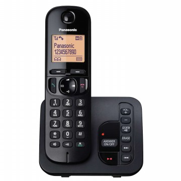 Panasonic Cordless Phone KX-TGC220 Wireless Telepon [Answering Machine]Speakerphone] - Hitam