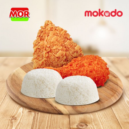 MOR HOTDEAL 5 : 1 Spicy Fried Chicken + 1 Super Crispy Fried Chicken + 2 Nasi