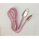 Kabel nilon usb charge dua sisi apple android dual side cable pink