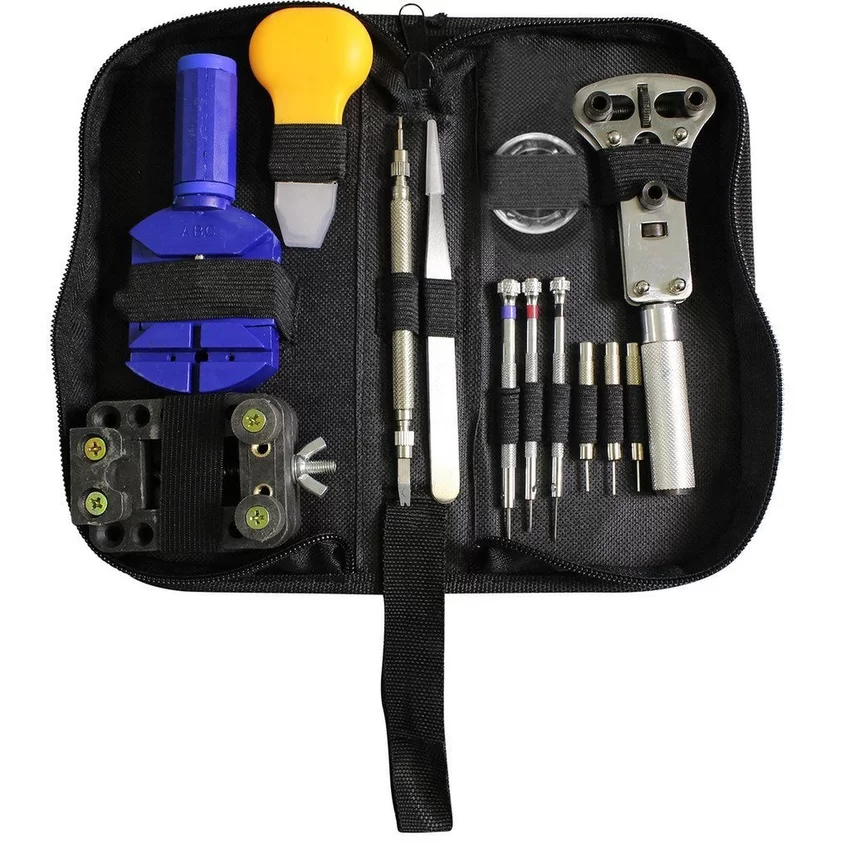 Set Kunci Alat Service Reparasi Jam Tangan Watch Repair Tool Set Kit Potong  Rantai Ganti Baterai d9be81e269