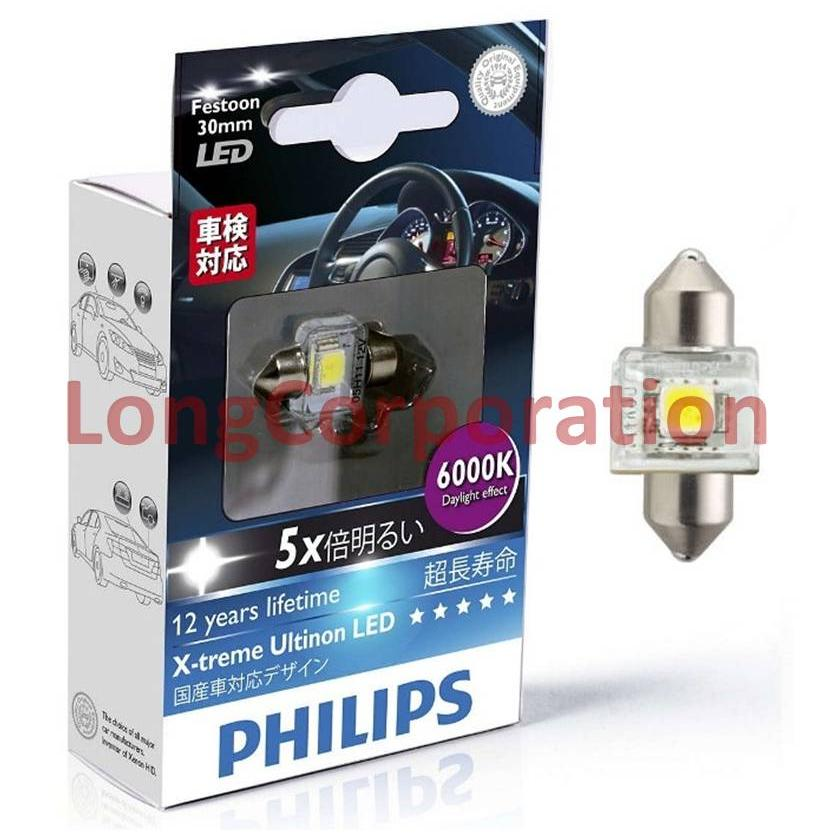 Philips X-treme Ultinon LED Festoon 30mm 6000K Lampu Interior Mobil