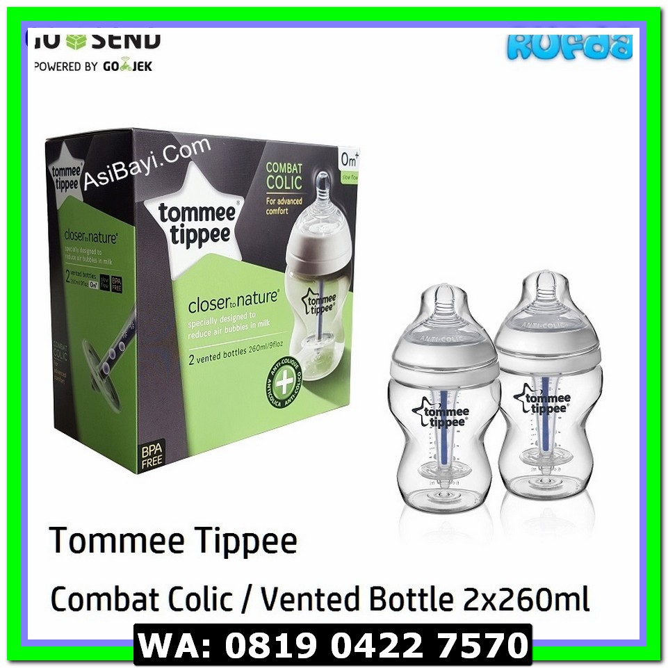 (Botol Susu) Tommee Tippee Combat Colic 2 x 260ml Vented Bottle
