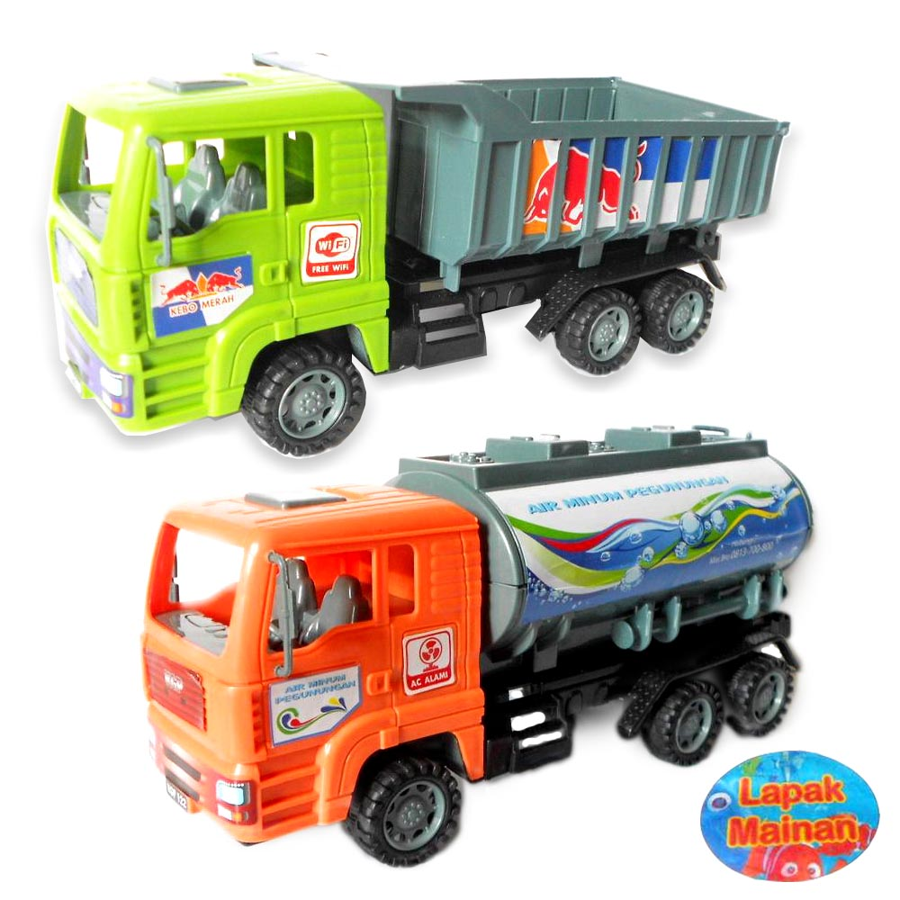 mainan mobil truk truck truk tanki air minum pegunungan dump truck elevenia. Black Bedroom Furniture Sets. Home Design Ideas