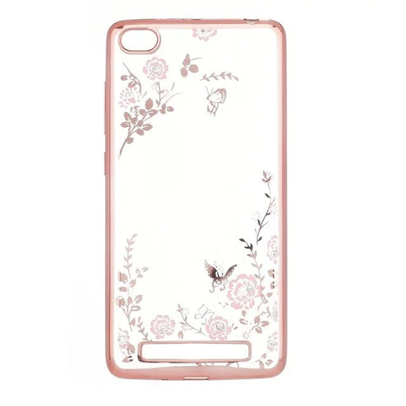 Universal Flower Diamond Softcase Vivo Y35 - Rose Gold
