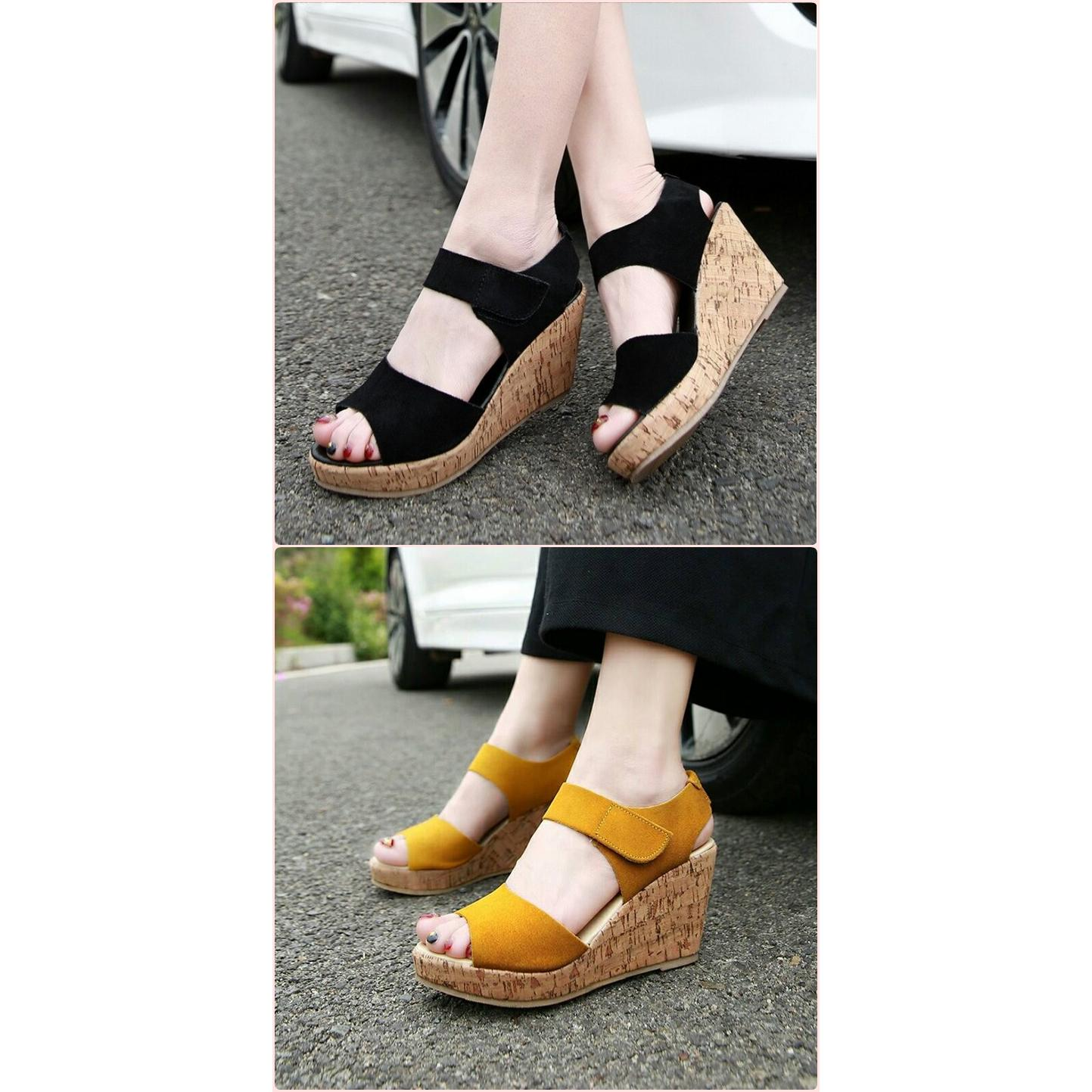 Sepatu Wanita Wedges Elegan Bahan Synth Elevenia Carvil Canvas Ladies Helena 01 Black Gold Hitam 39