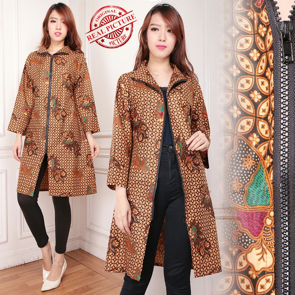 Cj collection Blazer 2in1 batik dress maxy pandek atasan blouse long tunik kemeja wanita jumbo shirt