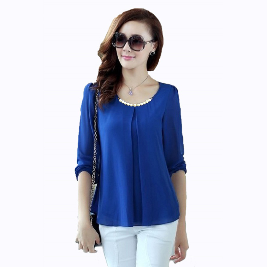 Korean Blouse Long Sleeve Blue Denim Blouses