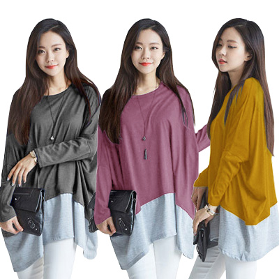 Korean Style Two Tone Mix Match Tee Korea Hot Item Baju