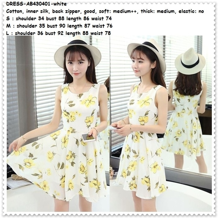 Flare Mini Dress Pantai Pesta Putih Bunga Baju Rok Wanita Korea