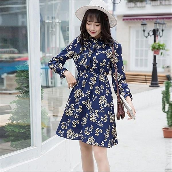 Mini Dress Lengan Panjang Tunik Blue Yellow Bunga Baju Korea Import