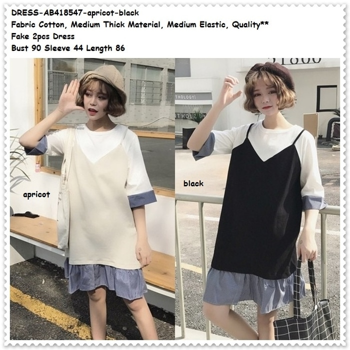 Mini Dress Santai Blouse Jumper Fake 2 Pcs Baju Wanita Korea