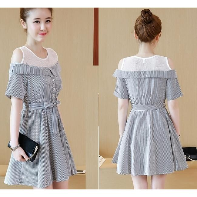 Party Mini Dress Pesta Sabrina Off Shoulder Baju Wanita Korea Import