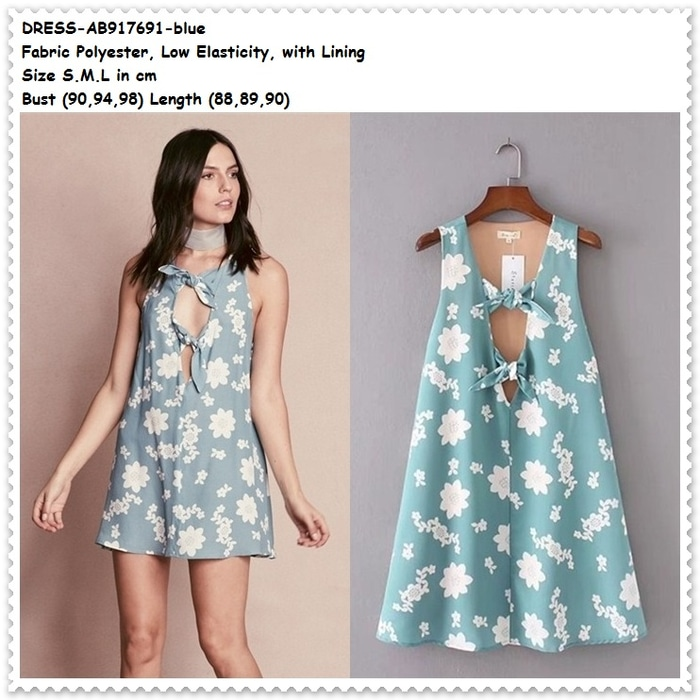 Blue Sexy Party Mini Dress Gaun Pesta Pita Baju Wanita Korea Import