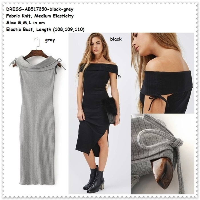 Long Dress Midi Bodycon Sabrina Rajut Knit Baju Wanita Korea Import