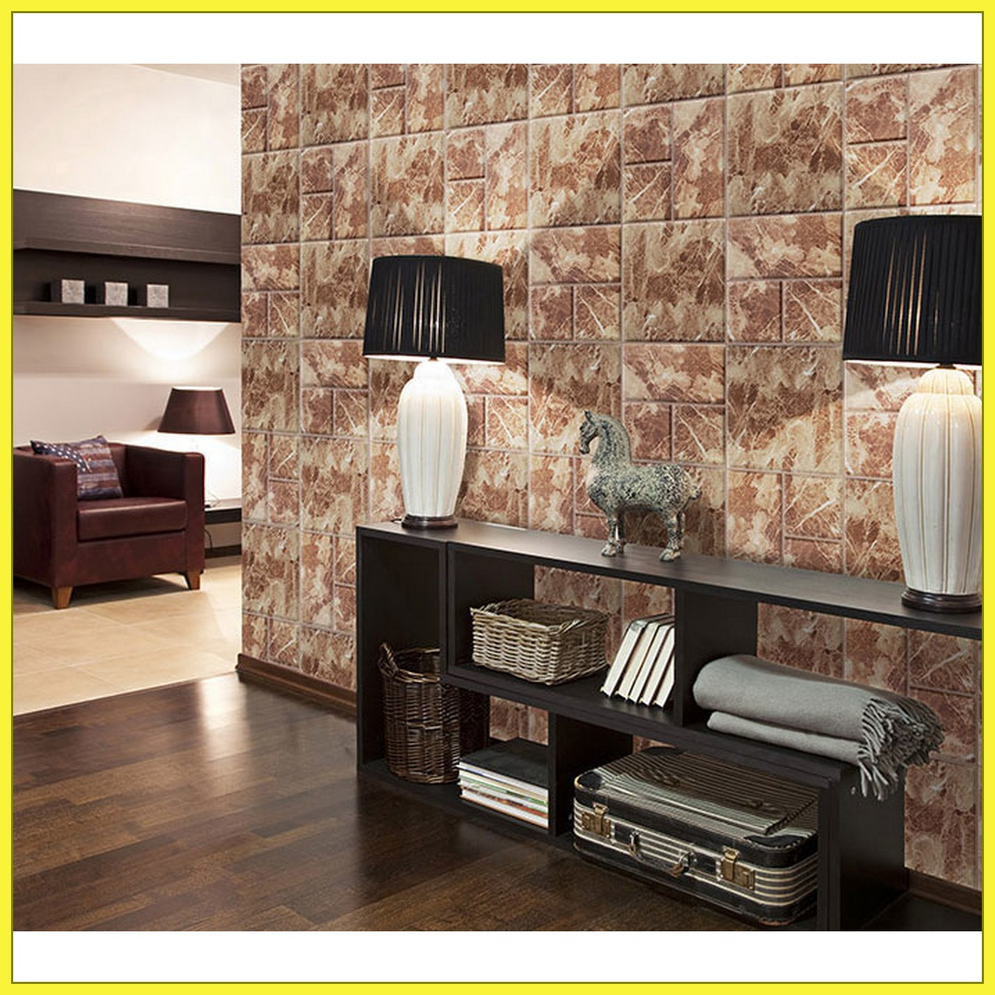 FIX MARBLE 3D WALLCOVER BROWN MARBLE - SDM 27504 EMBOSSED