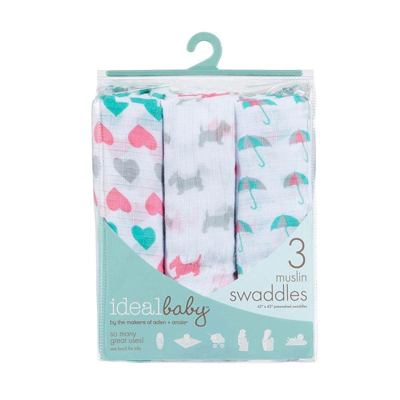 Ideal Baby 3 Muslin Swaddles Bedong Bayi - Pretty Sweet