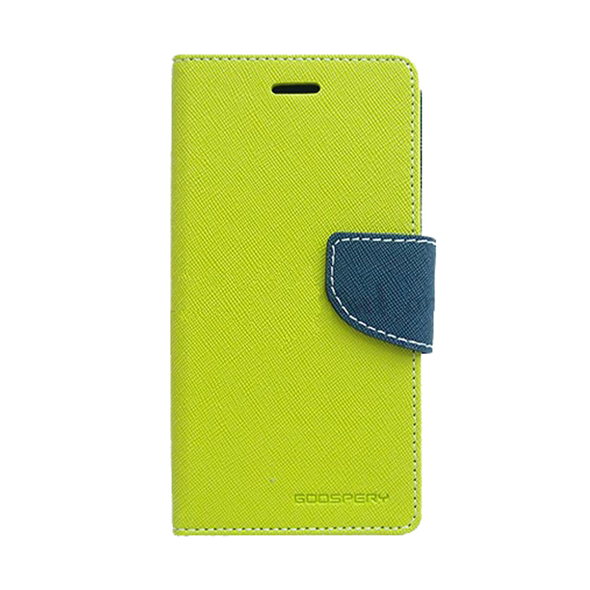 Mercury Fancy Diary Case Samsung Galaxy Young 2 Casing Cover Flip - Lime/ Navy