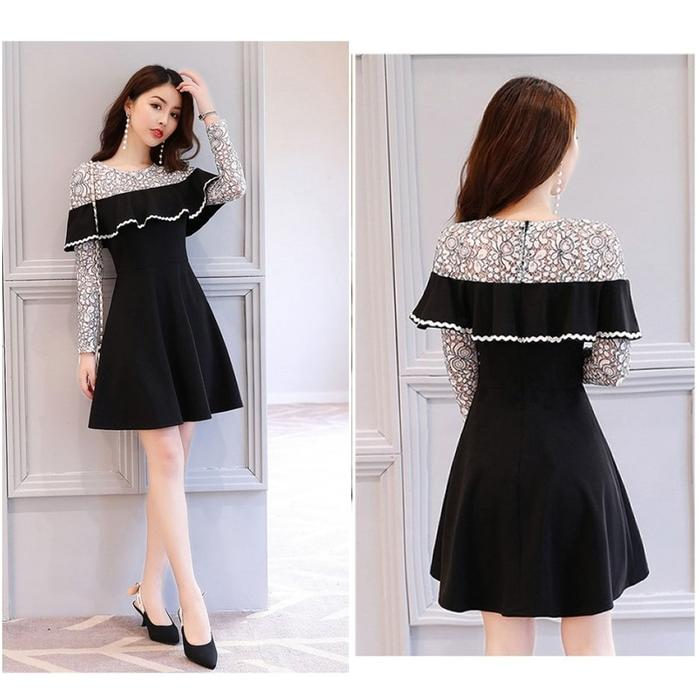 Mini Dress Party Black Gaun Pesta Sexy Lengan Lace Brukat Korea