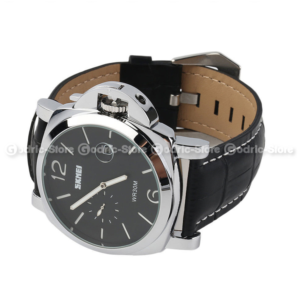 Skmei Jam Tangan Pria Cowok Analog Leather Kulit Luminor Panerai Original Water Resistant 1124 1124cl