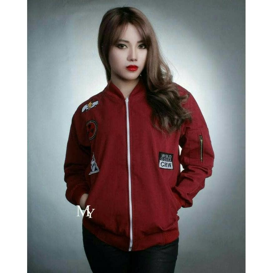 ... Jaket Wanita Bomber Attention Maroon  64e255c5ba