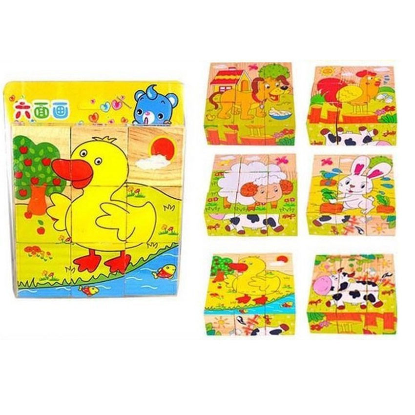 Wooden Puzzle Block 6 In 1 Educational Toy