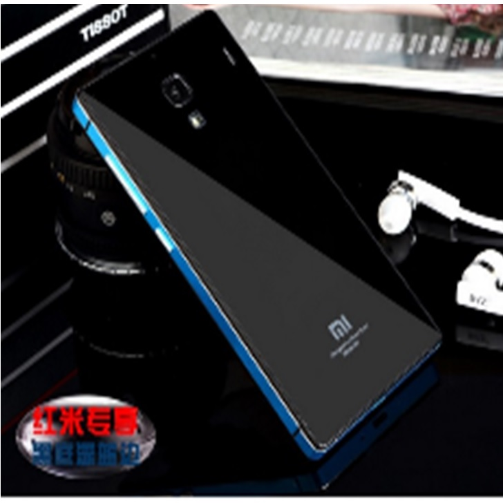 Aluminium Tempered Glass Hard Case for Xiaomi Redmi Note 2 Black Blue .