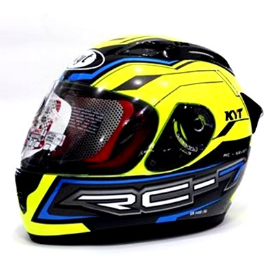 Brand KYT Helm RC 7 Seven RC7 Full Face Black Yellow Fluo
