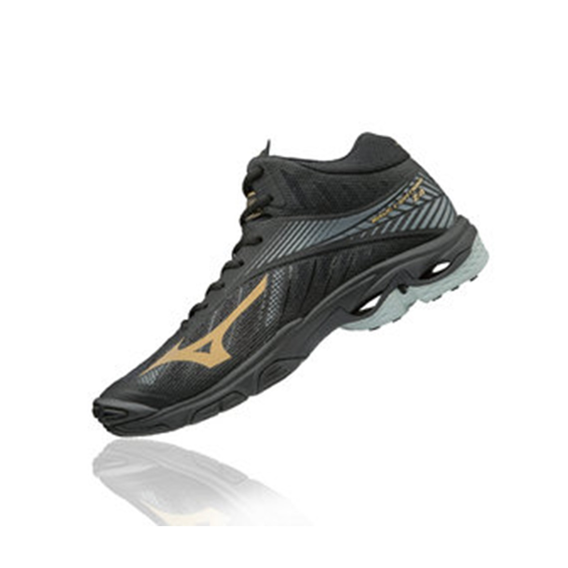 MIZUNO SEPATU VOLLEY BADMINTON V1GA180550 WAVE LIGHTNING Z4 MID - BLACK  GOLD 10121C DARK SHADOW 4e3d934123