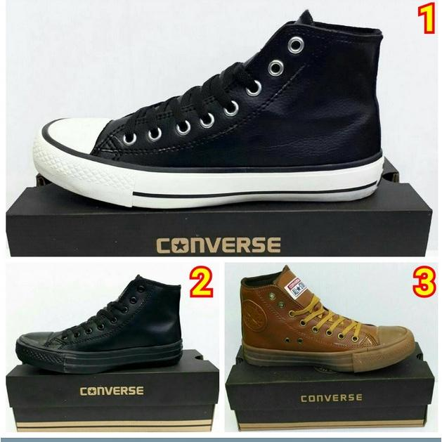 Sepatu Sport Casual Sneakers Premium Converse All Star High Kulit (ada 3  Warna) 1835326682