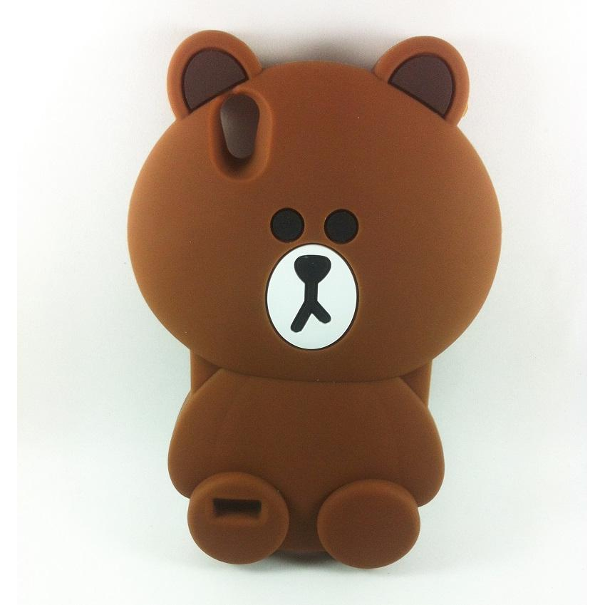 Case 3D Silicon Boneka Kartun Teddy Brown Line Softcase Casing for Oppo Neo 9 A37