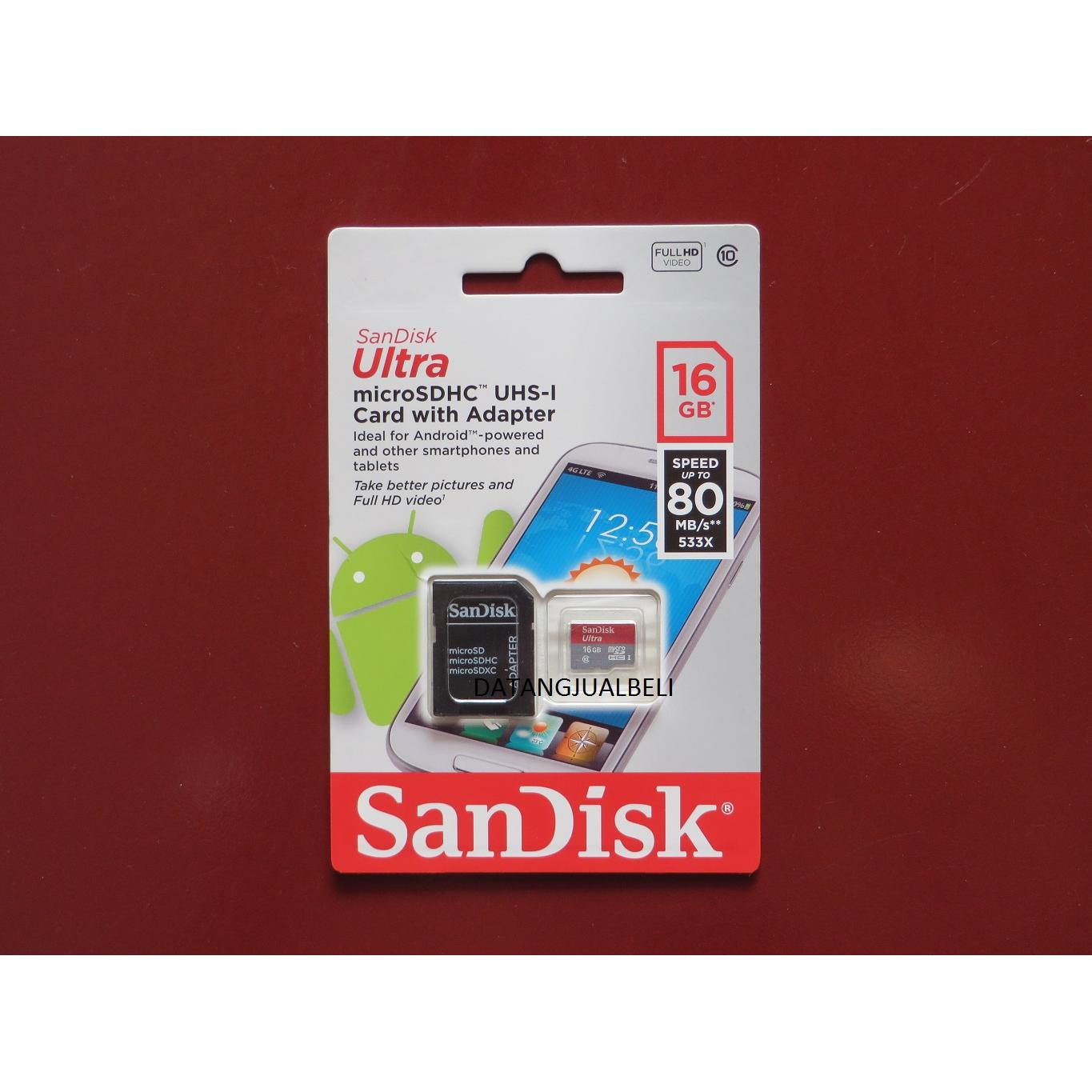 Sandisk Ultra 16gb 80mb S Micro Sdhc Card Uhs I Class 10 Sd Memory