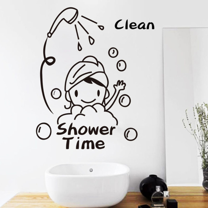 Wall Sticker Quotes Shower Time Dekorasi Dinding Toilet Kamar Mandi