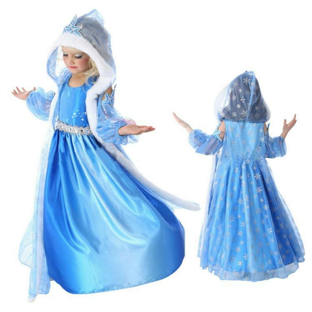 3in1 KOSTUM ELSA FROZEN MAHKOTA Baju Anak Import Branded Dress Gaun