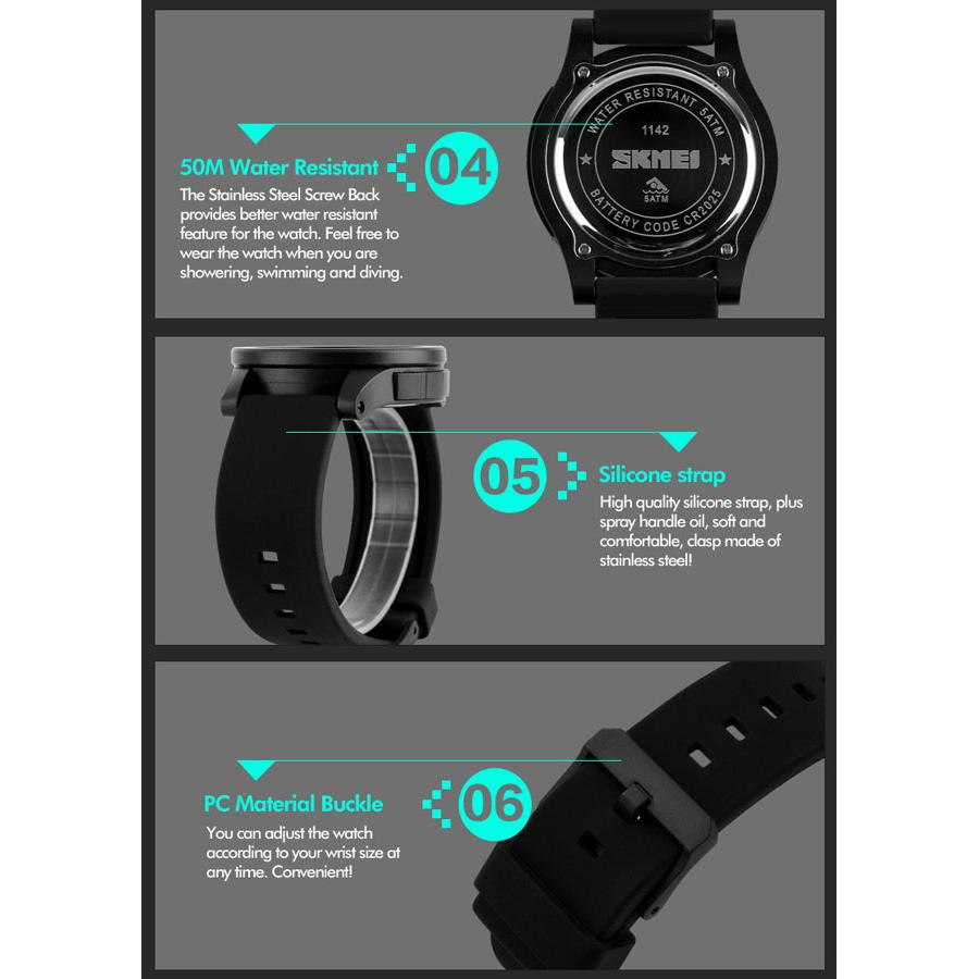 ... Jam Tangan Pria Skmei 1142 Original Water Resistant 50m Black Digital 1219 Blue Box