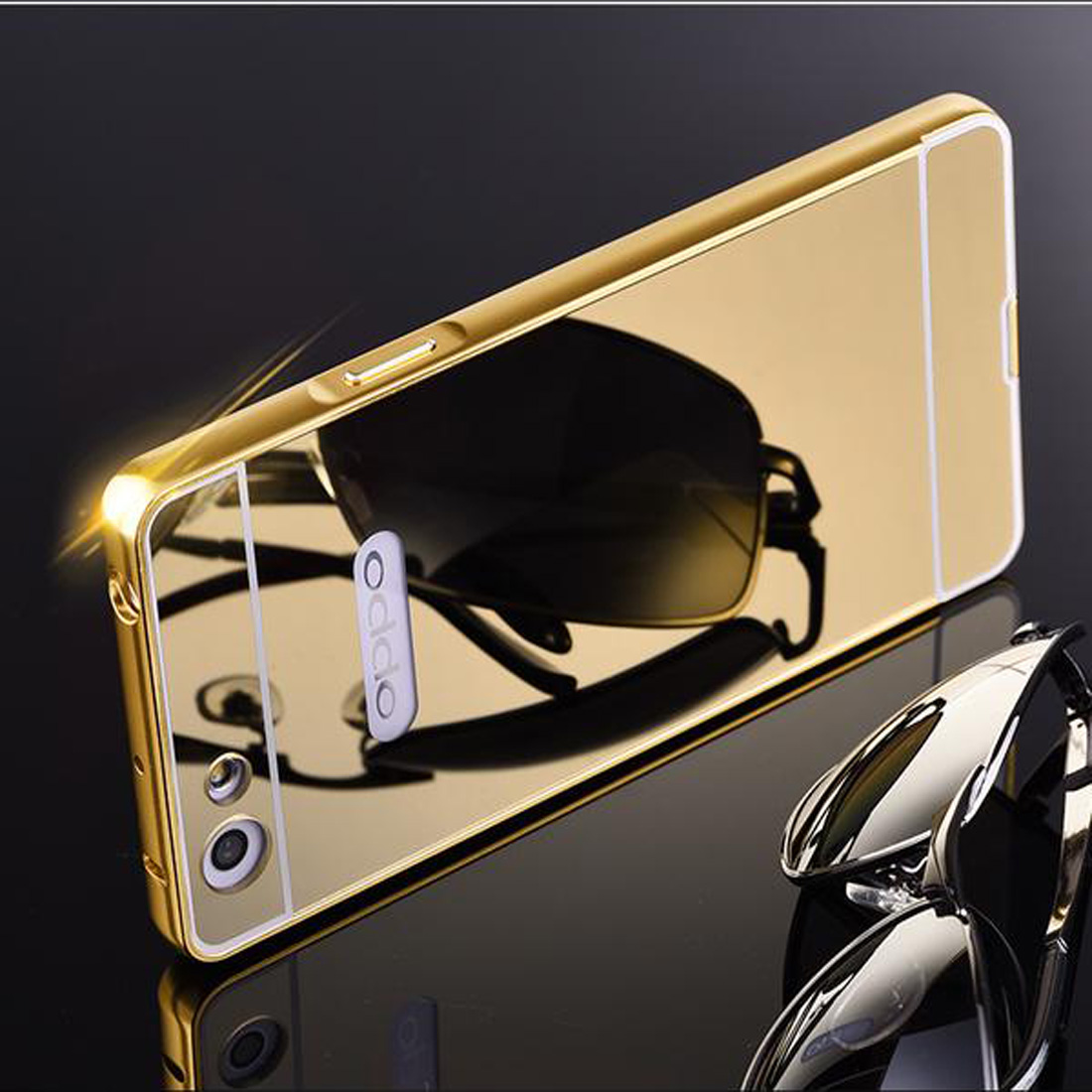 ... Metal Bumper Slide Mirror Oppo A33 / Neo 7 / Bumper Mirror Slide Back Case –