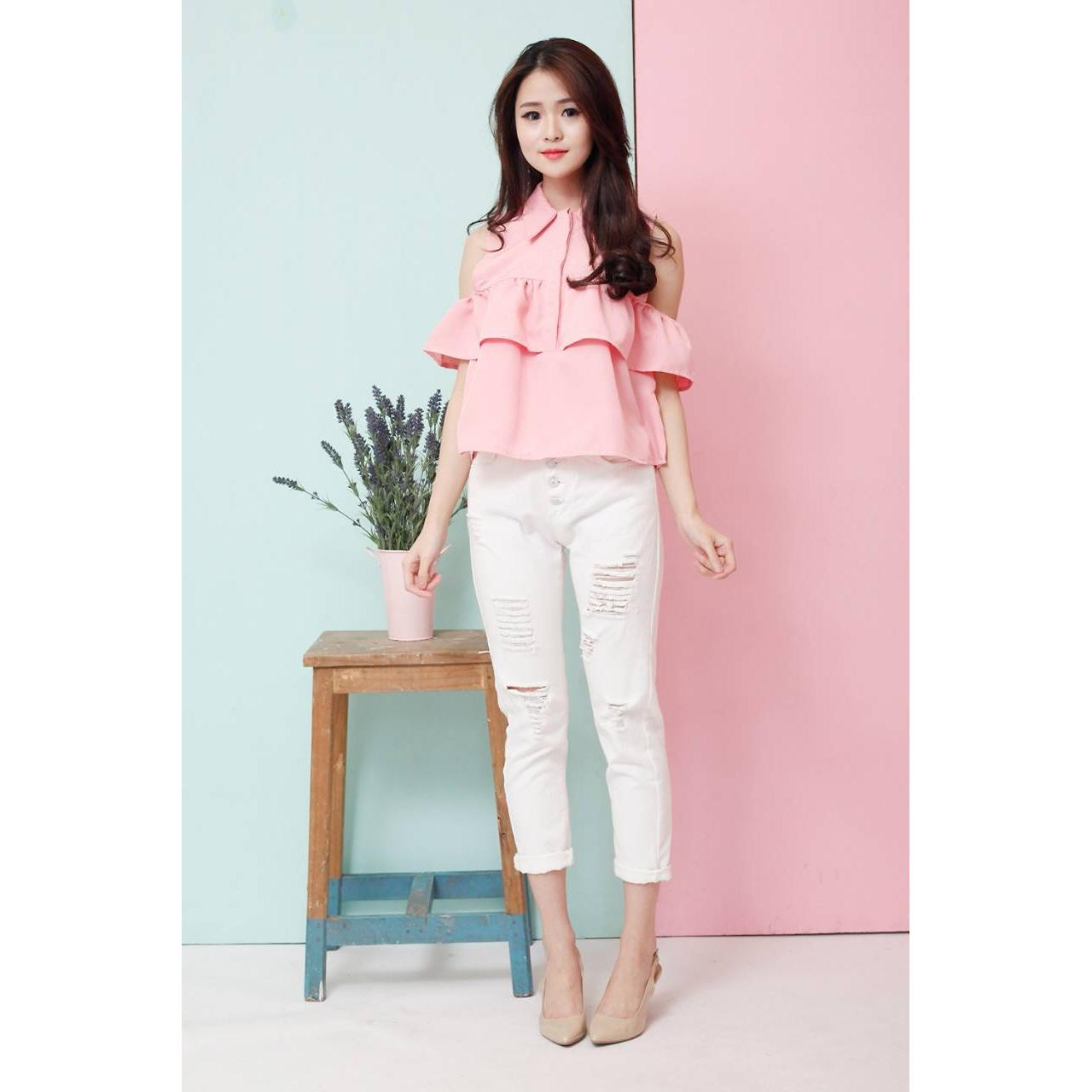 Korean Style Cut Out Top Sabrina Baju Wanita Murah Elevenia