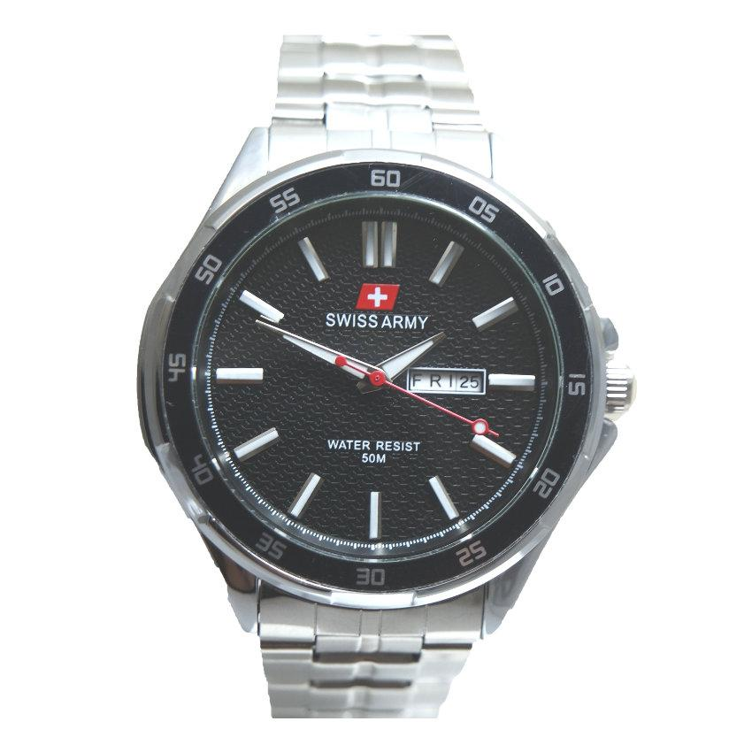 Dial Hitam Source · Putih Strap Stainless Source Swiss Army Men s Jam .
