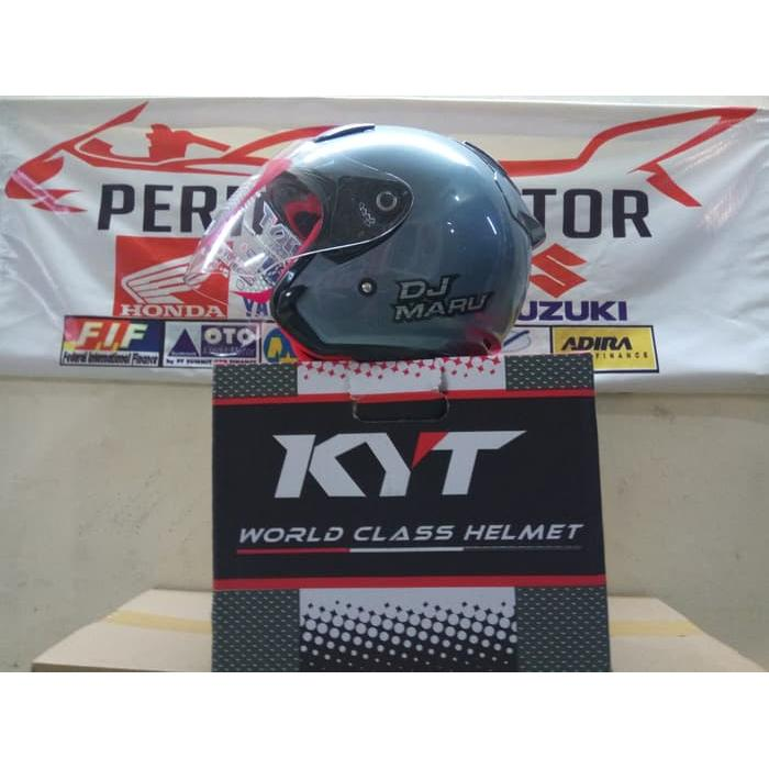 Helm KYT Dj Maru Solid Half Face ALL GREY MET