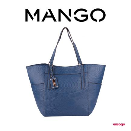 [MANGO] CROCO TOTE | NAVY BLUE