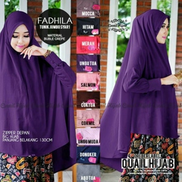 Khimar pet Lengan Fadhila Tunic Jumbo fit XXL Bahan Bubble Pop