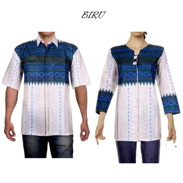 Baju Batik Couple Sarimbit Model Blus Putih Ratih 5