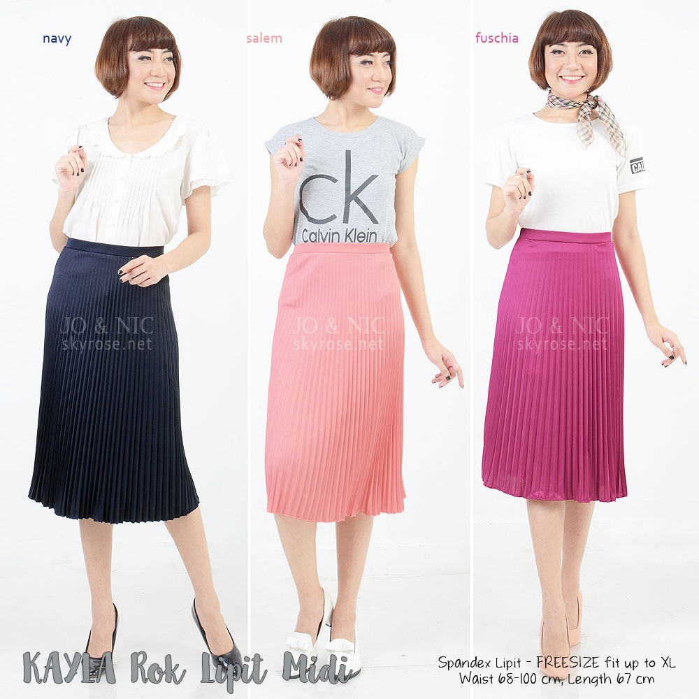 ... Pleated Midi Skirt - Rok Lipit 7/8 - 18 warna - fit up to ...